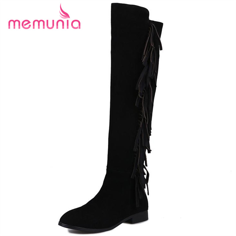 ФОТО MEMUNIA Long knee high boots autumn winter fashion boots solid zip tassel women cowhide leather boots punk big size 34-40