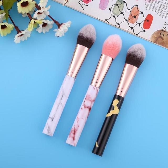 1 unid maquillaje profesional de los cepillos Blush llama pinceles/brochas Fundación ronda hacer grandes cosméticos de aluminio de cepillos de maquillaje de la cara