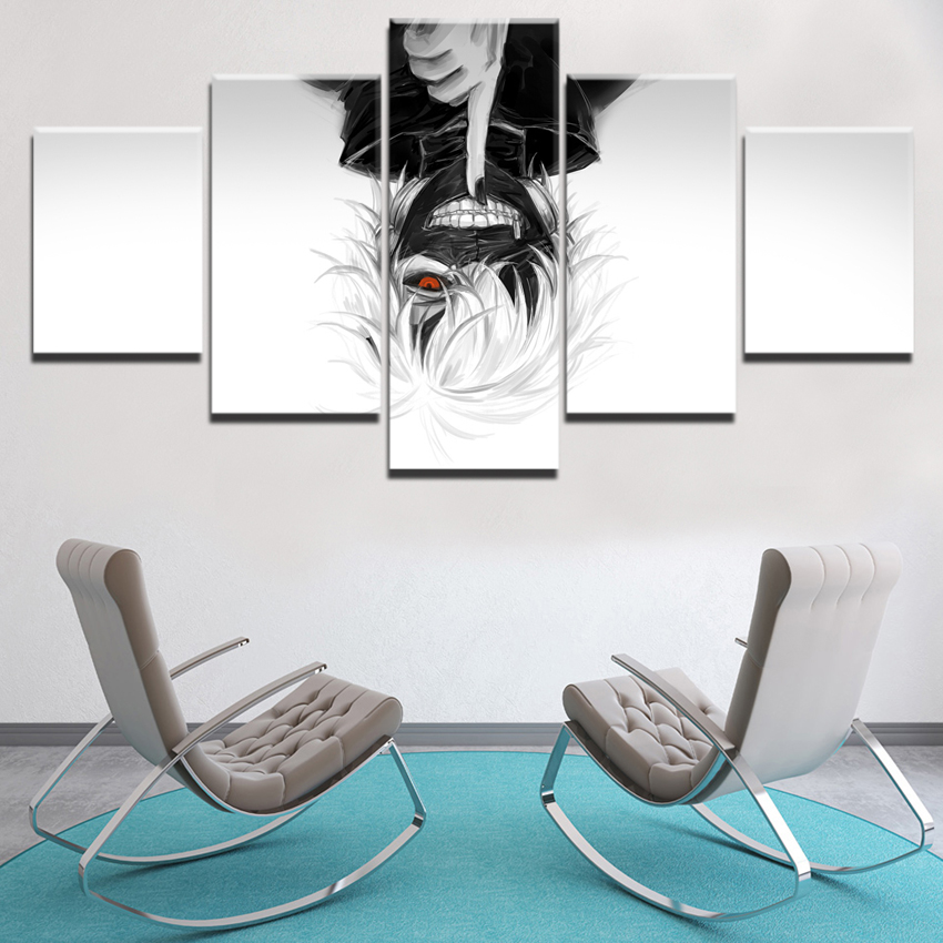 Modern Wall Art Decor Canvas Anime Painting For Living Room 5 Pieces Ken Kaneki Mask Tokyo Ghoul Picture Printed Modular Poster