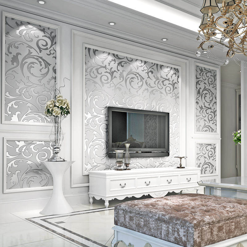 European Style Non-Woven Wallpaper 3D Embossed Silver Gold Leaf Scroll Wall Paper For Living Room Bedroom Luxury Wallpaper Roll