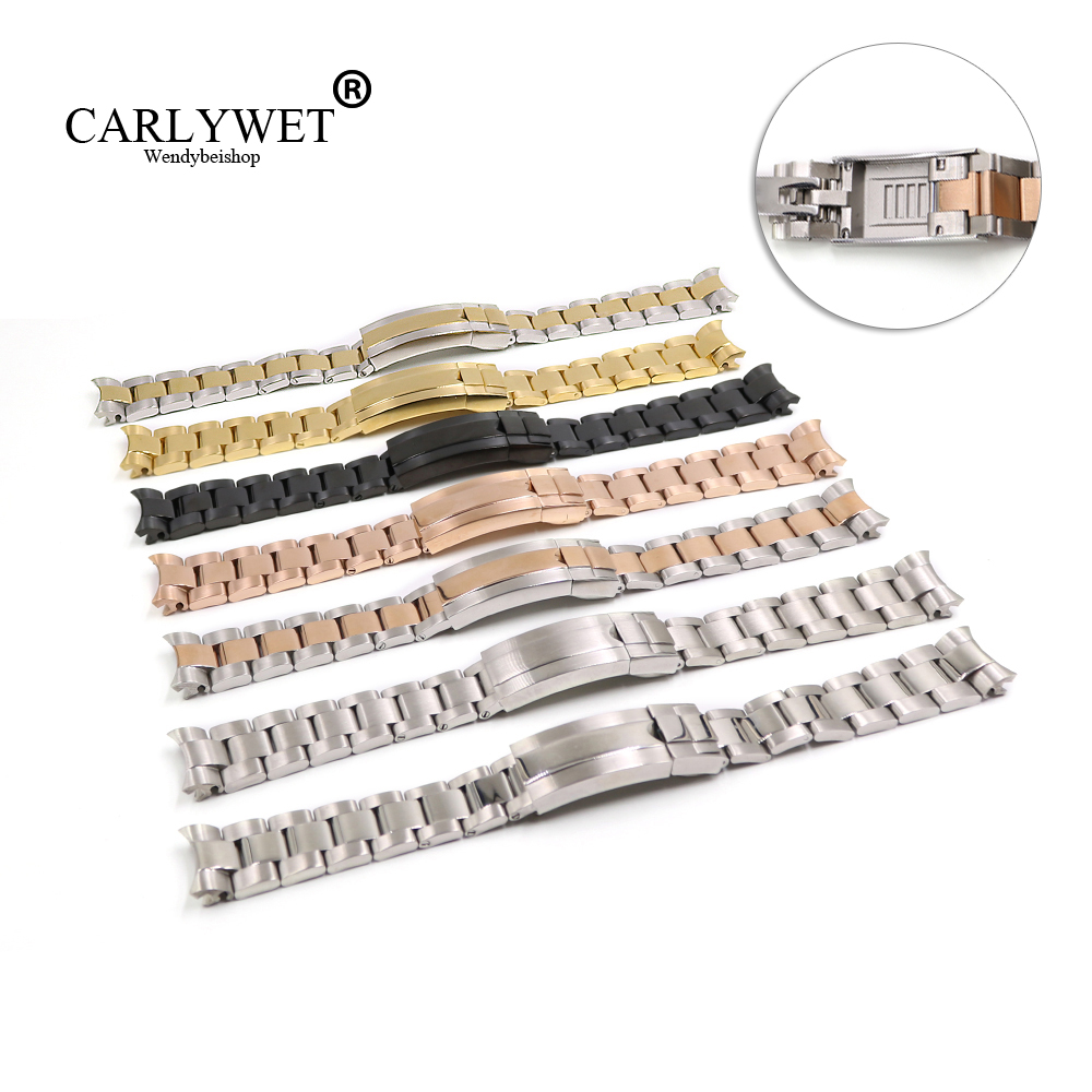 CARLYWET 20mm Solid Curved End Screw Links Glide Lock Clasp Steel Watch Band Bracelet For GMT Submariner OYSTER Style