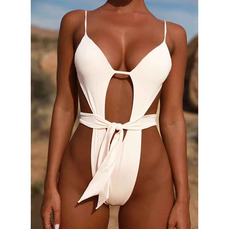 Sexy Hollow Out Swimsuit 2018 Thong Monokini White Women Halter Top One Piece Swimwear Push Up Backless Female Bathing Suit women sexy pink transparent one piece swimsuit monokini quick dry halter backless swimwear strappy push up bodysuit bathing suit