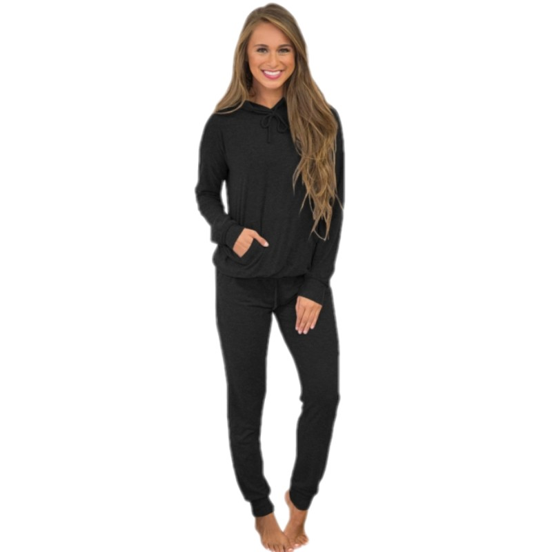 YSMARKET nouveau chaud noir sweat à capuche décontracté hauts et Joggers ensemble deux pièces automne hiver vêtements mode Long pantalon costume E62081