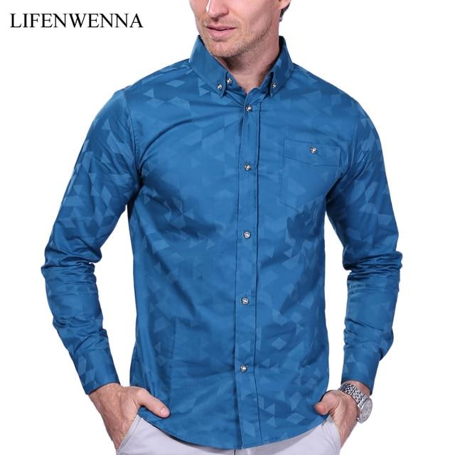 c2a095d1c90 2019 New Fashion Men s Shirt Long Sleeve Jacquard Weave Slim Fit Shirt Men  Business Casual Cotton Shirt Men Camisa Masculina 5XL