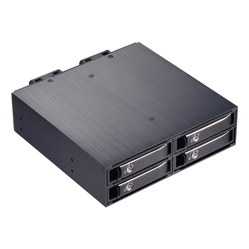 Uneatop 2.5in 4-bay SATA hard drive caddy tray internal enclosure hdd docking station to 5.25 PC bay hdd mobile rack nickel bay nick