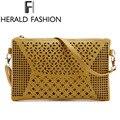 Ahueca hacia Fuera el Bolso de Las Mujeres Crossbody Flap Messenger Bag PU Correa De Cuero Bolso Bolsas Feminina Vendimia Señoras de Fashon Herald