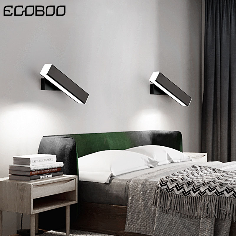 Nordic Black & White LED Wall Lights with Rotated Beam Angle Decor modern Hotel Stair Lights in Bedroom Bedside