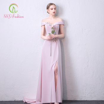 SSYFashion Sweet Pink Evening Dress Sexy Boat Neck Short Sleeve High-split Sweep Train Long Prom Gown Custom Party Formal Dresse