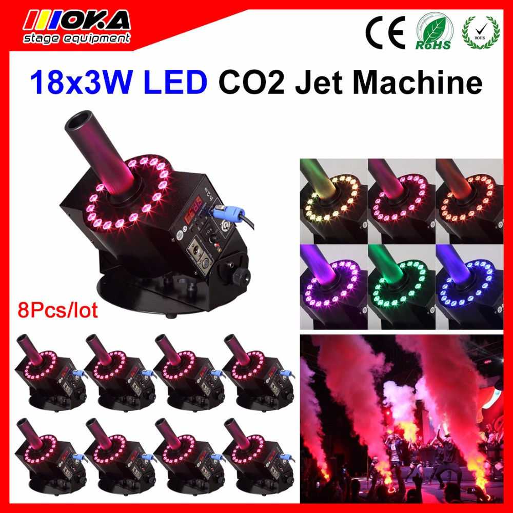 8PCS/Lot Stage DMX 512 Adjustable LED CO2 Cannon machine Shooting high 8-10 Meters CO2Jet Column Machine LED CO2 Jet Device