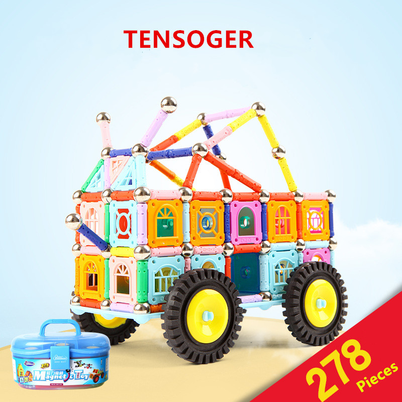 Tensoger 278 Pics Magnetic Stick Childrens Educational DIY Toys Magnet Building Blocks Magnetic Patch Gift for Girls Boys ...