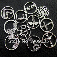 New Assorted Silver Window Plates For 30mm Locket Pendant 20 Pieces/Lot WP-012