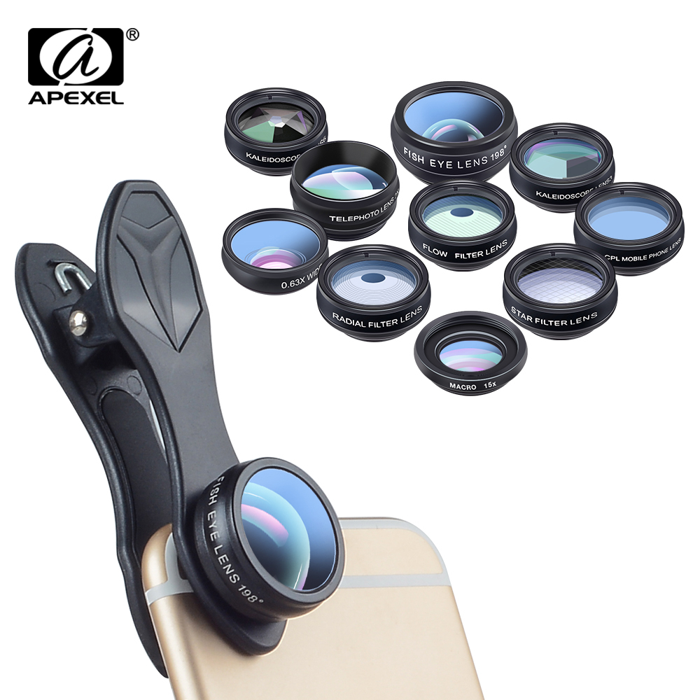 APEXEL 10 in 1 Kit telefon Phone Lens Fish eye Wide Angle Macro 2X telephoto CPL star Filter Kaleidoscope Camera Lens for iphone