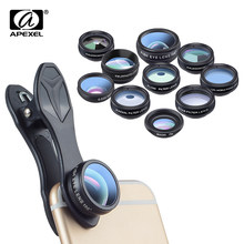 APEXEL 10 in 1 Kit telefon Phone Lens Fish eye Wide Angle Macro 2X telephoto CPL star Filter Kaleidoscope Camera Lens for iphone(China)