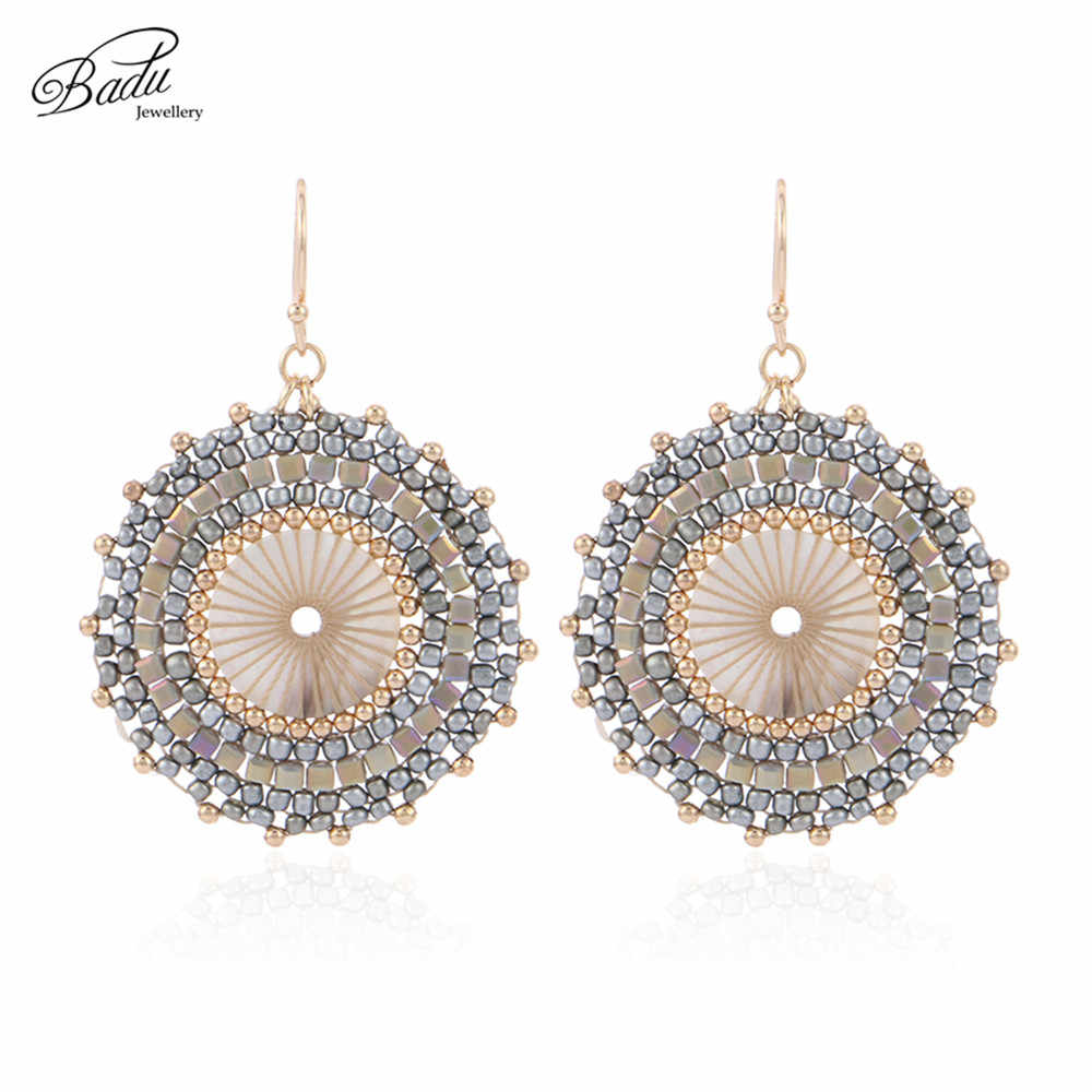 Badu Big Round Crochet Earrings for Women Japanese Seed Beads Ethnic Charm Dangle Drop Earring Fashion Jewelry Gift Wholesale