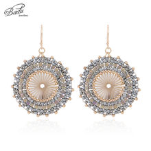 Badu Big Round Crochet Earrings for Women Japanese Seed Beads Ethnic Charm Dangle Drop Earring Fashion Jewelry Gift Wholesale(China)