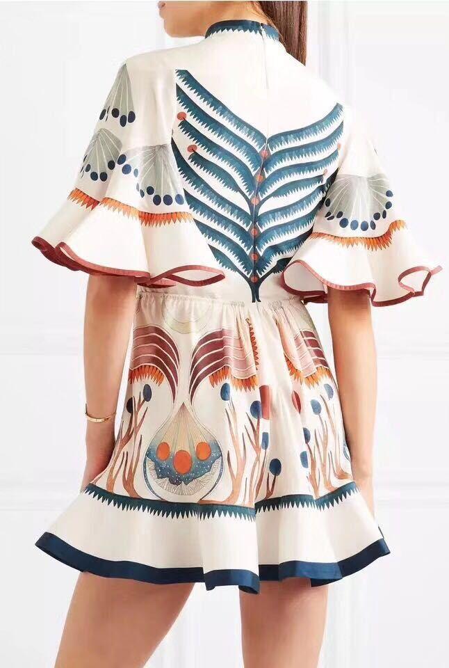 Mince Mini Imprimer À Demi Pour Roulé Col Printemps Robe As Femmes Robes Volants Manches Les D'été Flare Picture Show Élastique z1w1v5