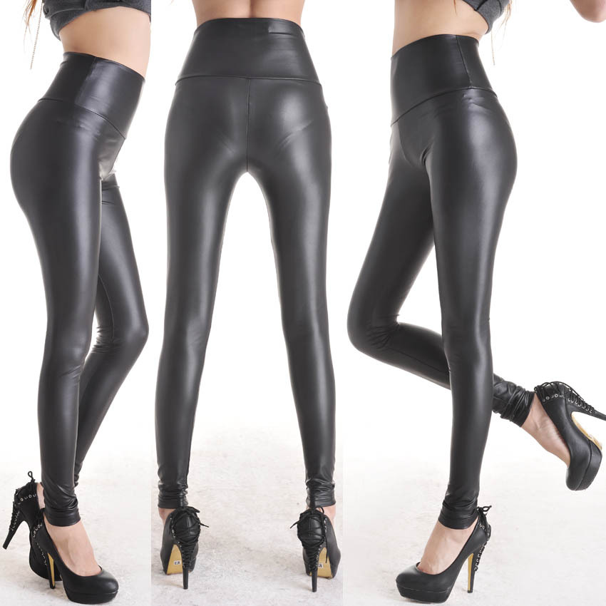 New-Trendy-Ladies-Black-Stretchy-Leather-Look-High-Waist -Pants-Women-s-Skinny-Trousers-Leggings-Size.jpg