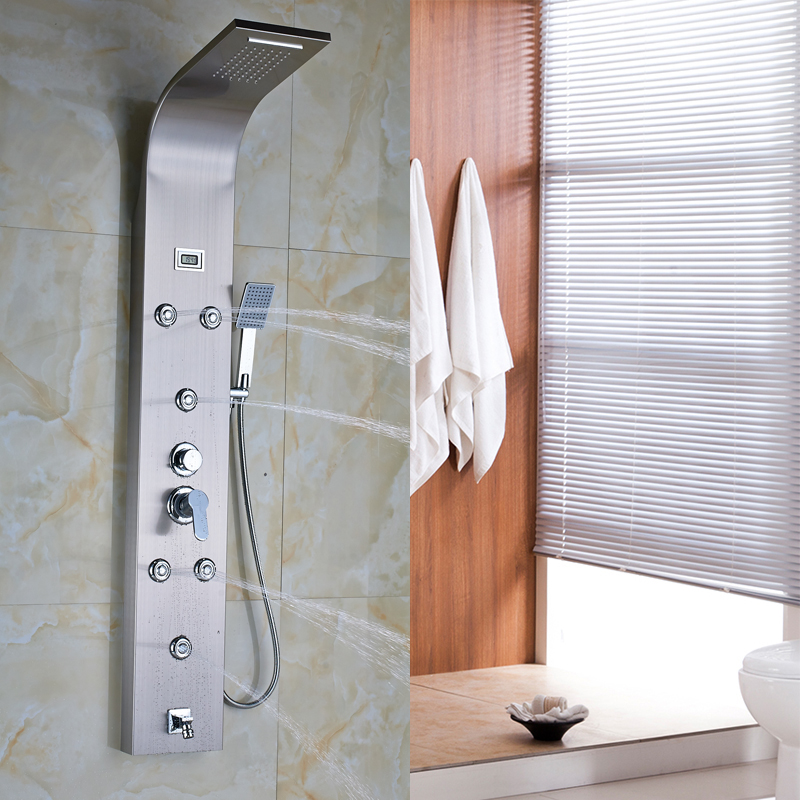 Modern Shower Column Stainless Steel Rain Waterfall Shower Panel 6pc  Massage System With Jetsu0026 Temperature Digital Display In Shower Faucets  From Home ...