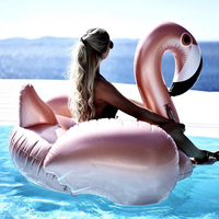 150CM Rose Gold Giant Inflatable Flamingo Pool Toy Float Boia Pink Cute Ride On Pool Swim Ring For Holiday Fun Water Party