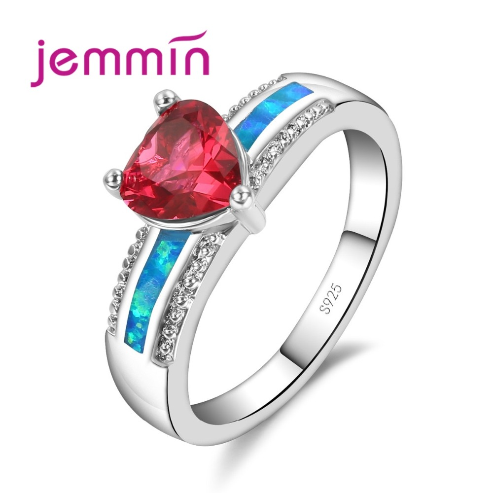 Triangle Red Crystal Blue Fire Opal Rings For Women With Cubic Zirconia 925 Sterling Silver Bridal Wedding Ring Jewellery