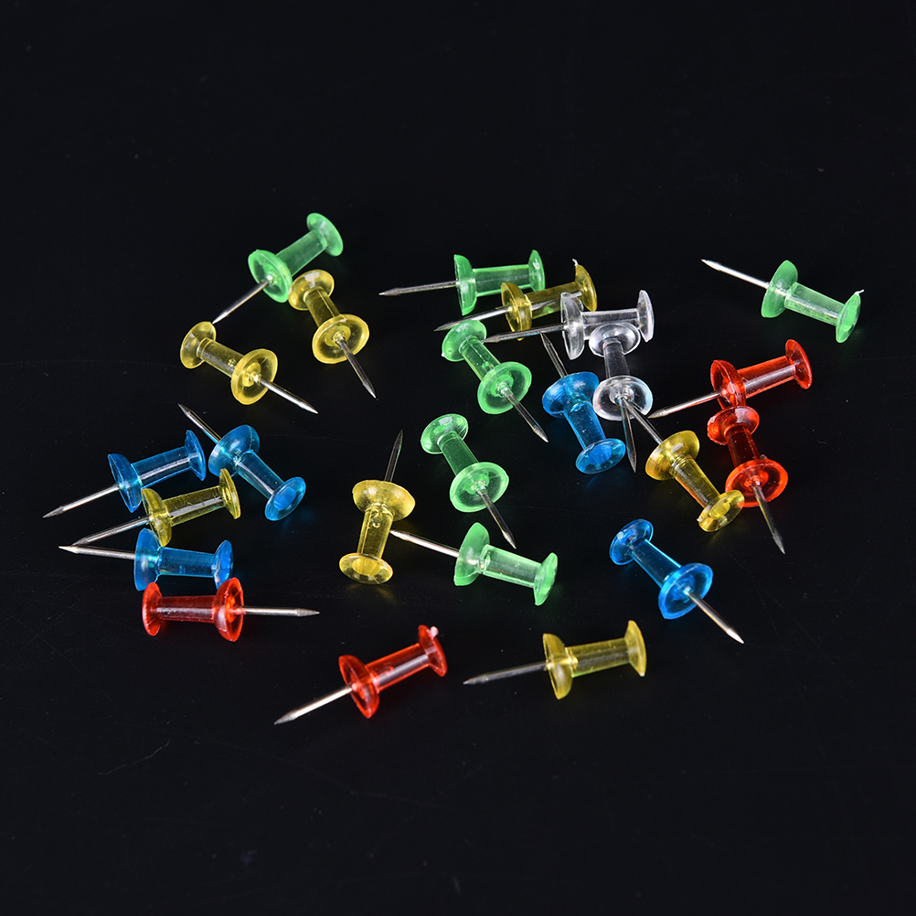 100PCS Push Pin Assorted Transparent Colorful Making Thumbtack Pins Cork Board Office School Stationery