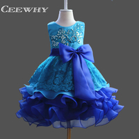 CEEWHY Ruffles Ball Gown Girls Dress With Big Bow Embroidery Flower Girl Dresses For Communion Formal