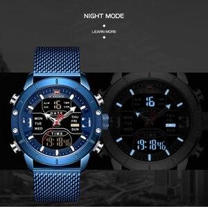 Image 5 - NAVIFORCE montre de sport pour hommes, nouveauté, de marque de luxe, en acier inoxydable, bracelet de sport militaire à double affichage, étanches
