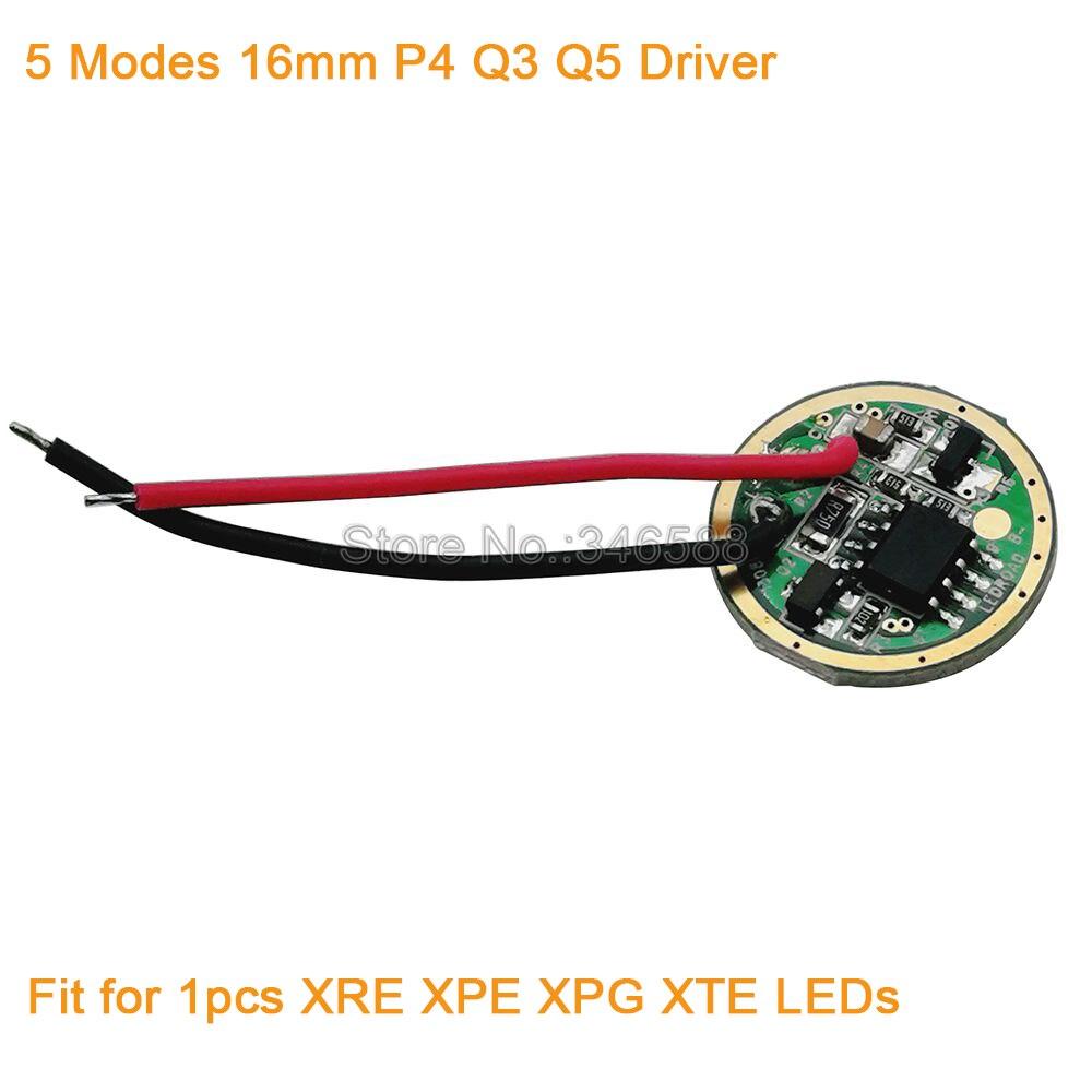 5db / tétel 16mm 5-ös üzemmódok Cree XRE XTE XPE XPG P4 Q5 Q3 - Világítási kiegészítők