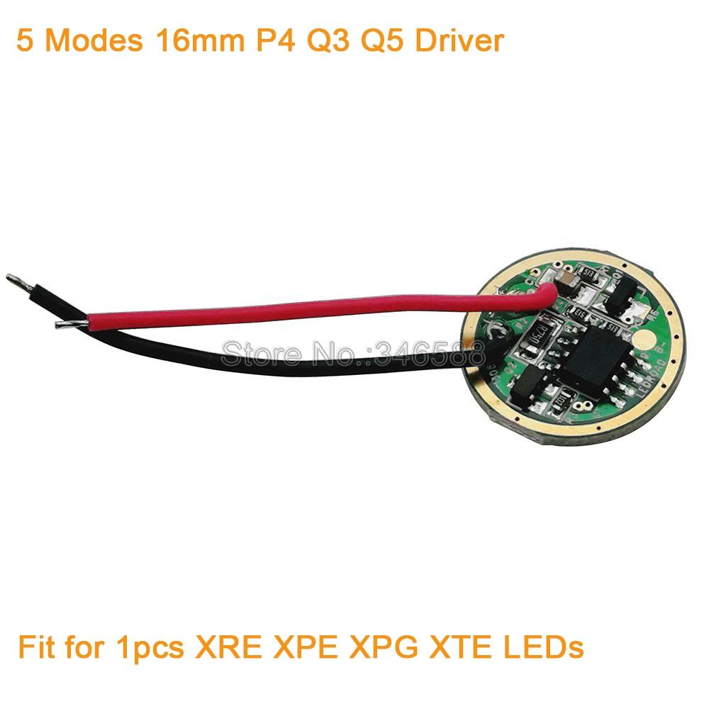 5pcs / šarže 16mm 5 režimů Cree XRE XTE XPE XPG P4 Q5 Q3 LED ovladač osvětlení Transformátor DC3.7V 700mA výstup
