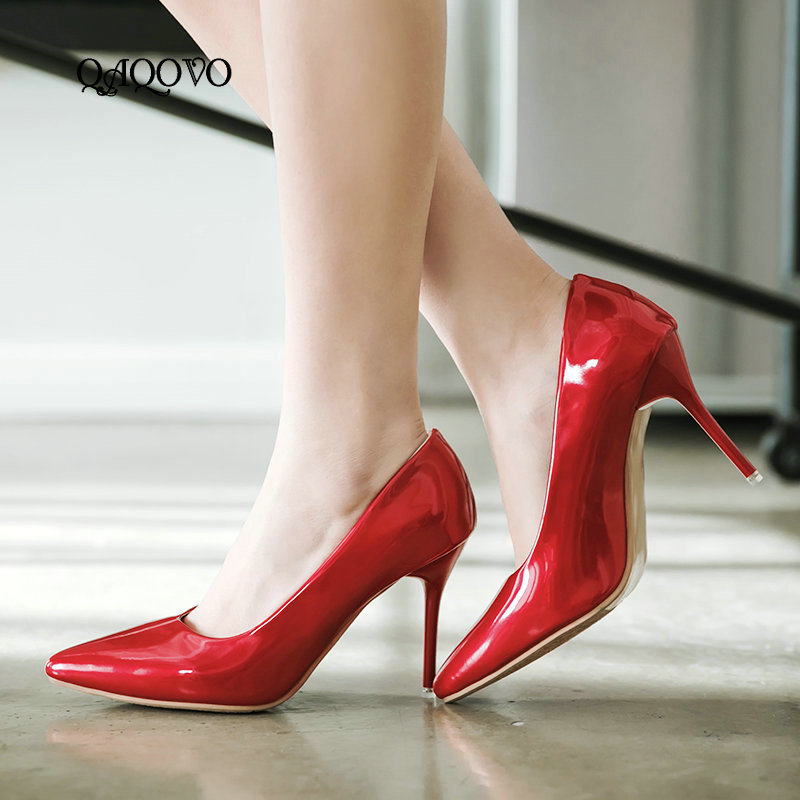 Women's Pumps Fashion Patent Leather Thin High Heels Sexy Pointed Toe Dre s Party Shoes Summer Spring Shoes Size 34 43