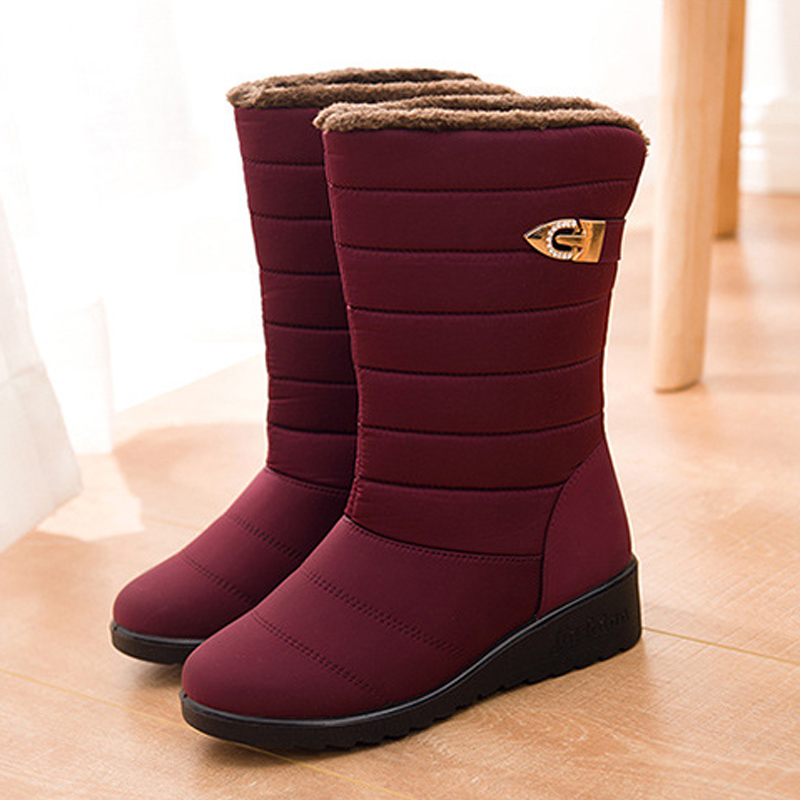 Women boots winter shoes woman mid-calf snow boots