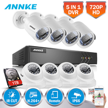 ANNKE 8CH HD 1080N 720P 5in1 H.264+ DVR With 4 Dome 4 Bullet 720P TVI In/Outdoor Weatherproof Smart IR Security Camera System