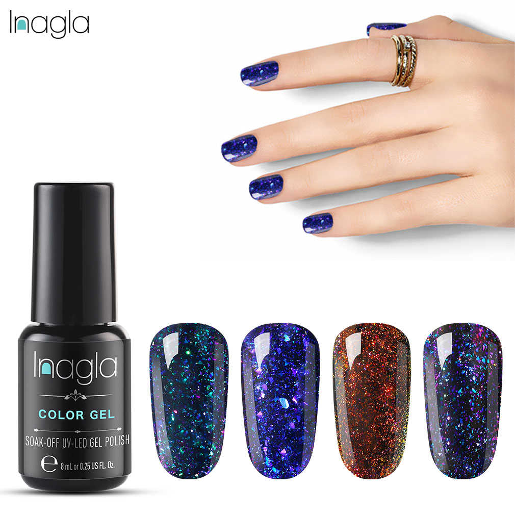 Inagla Chameleon Magnetic Gel Nail Polish Tahan Lama Bersinar Laser 8 Ml Cat Eye Gel Nail Art Rendam Off UV LED Gel Varnish