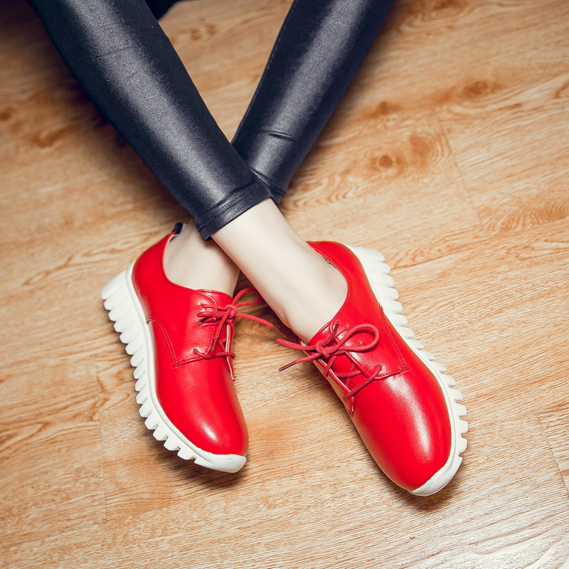 New Sale Plus big and small size 29-46 Womens  Round Toe Patent Leather Platform Shoes  Lace up Casual shoes Brogue Shoes 8086 brand new hot sale blue red yellow black green glossy patent leather women nude flats ladies shoes av123 plus big size 49 10 13