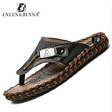 Brand Men's Luxury Flip Flops 2019 Genuine Leather Slippers Summer Beach shoes For Men Fashion Outdoor Sandals Male Plus Size 48(China)