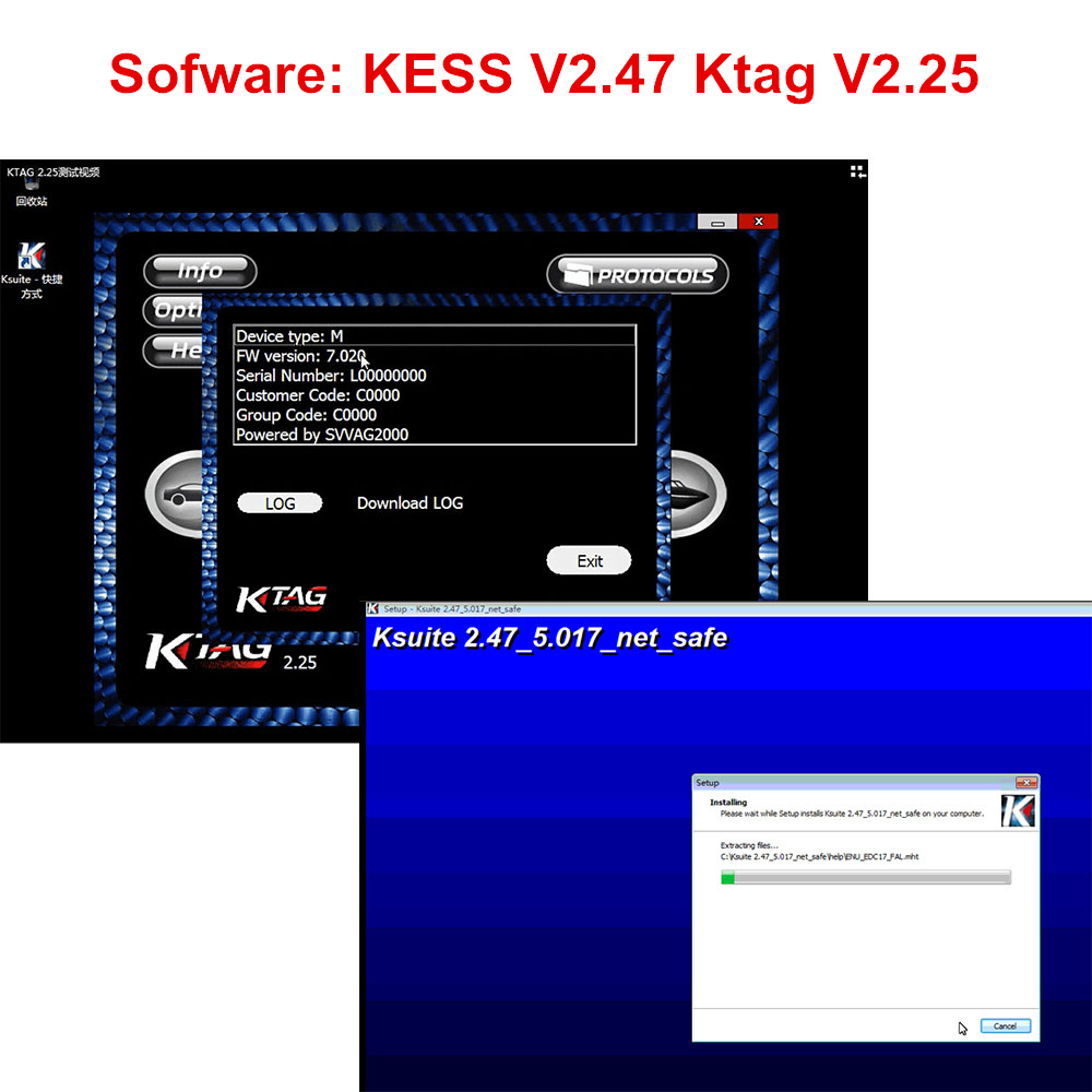 Newest KTAG V2.25 KESS 2.53 V2.47 Software K-TAG K TAG 7.020 2.25 KESS V2 5.017 2.47 V2.53 Online Version Software Download Link