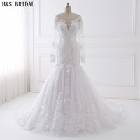 H S BRIDAL Long Sleeve Wedding Dress Mermaid 2017 Beaded Embroidered Lace Wedding Dresses Vestido De
