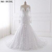 H&S BRIDAL Long Sleeve wedding dress mermaid 2018 Beaded Embroidered Lace Wedding Dresses Vestido De Noiva China Wedding Gown