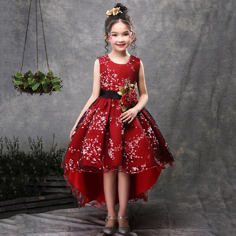 New Brand Flower Girls Dress Kids Princess Party Wedding Gowns for Children Graduation Ceremony Baby Kids Long Tail Formal Wear