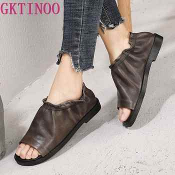 GKTINOO Original Summer New Peep Toe Women Shoes Genuine Leather Retro Low Heels Comfortable Personality Handmade Casual Sandals - DISCOUNT ITEM  50% OFF Shoes