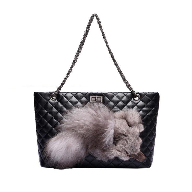 ФОТО 2017 fashion Plush Fox chain shoulder bags Pu Leather Diamond lattice women handbags high quality crossbody bags bolsa feminina