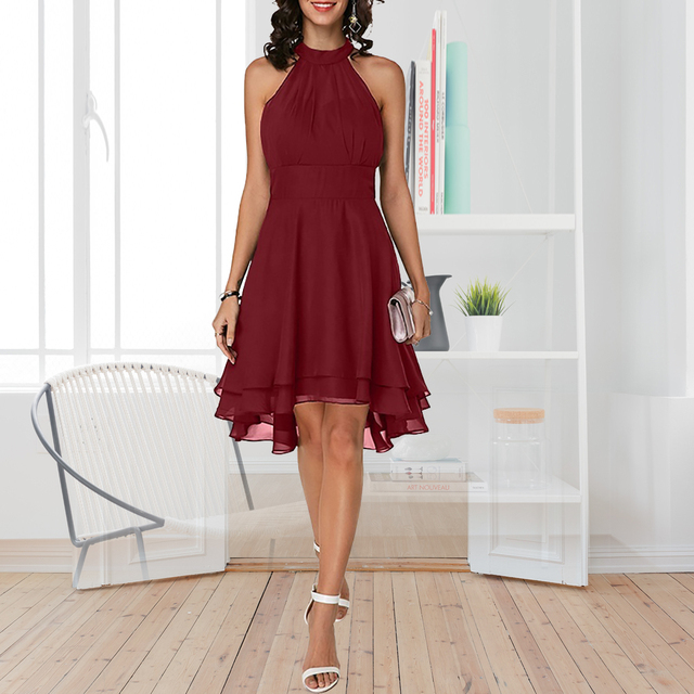 Plus Size Summer Dress 2019 Sexy High Waist Solid Color Cropped Layered Halter Sleeveless Chiffon Party Casual Slim Dress 1