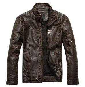 Image 4 - 新ブランドオートバイの革のジャケット男性のレザージャケット jaqueta デ couro masculina メンズ革コート