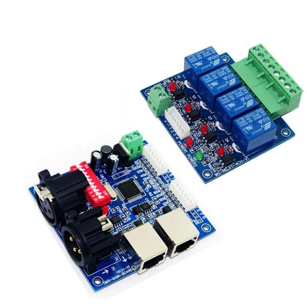 цена на DC12V DMX-RELAY-4 channel RJ45 10A*4CH dmx512 relays decoder RGB led controller use for led strip lights led lamp