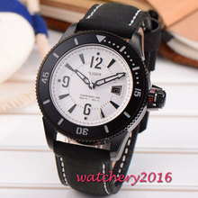 Newest 43mm Bliger white dial black PVD case mineral crystal date miyota Automatic movement Mechanical Wristwatches Men's Watch