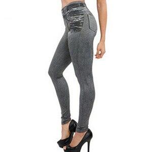 Image 2 - Dropship Leggings Jeans for Women Winter Denim Pants Plus Velvet Warm With Pocket Slim Jeggings Fitness Plus Size Leggins Pant