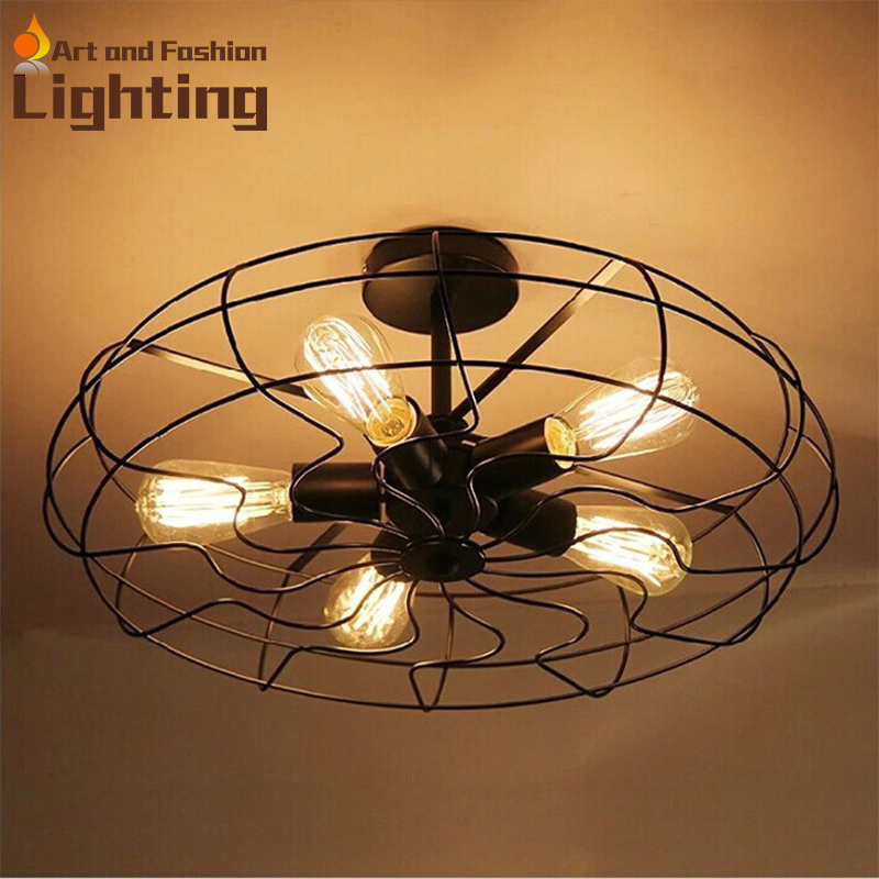 buy good quality most popular loft bird cage ceiling fan led fan lamp creative. Black Bedroom Furniture Sets. Home Design Ideas