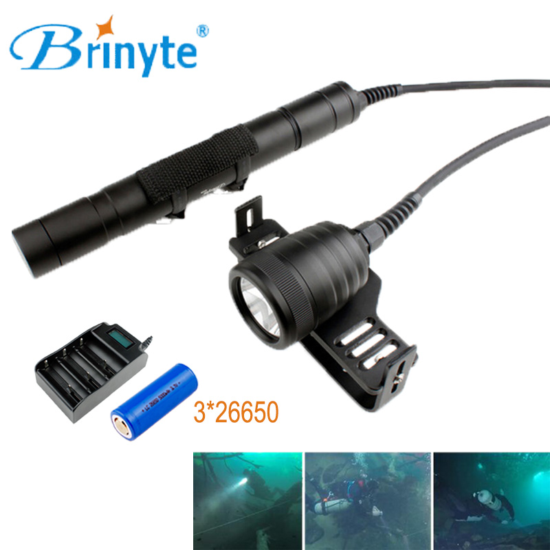 Brinyte DIV09 CREE XM-L2 Underwater Split Style LED Scuba Diving Flashlight Diver Torch Lamp Light with 3*26650 Battery&Charger 100m underwater flashlight diving led scuba flashlights light torch diver cree xm l2 use 18650 or 26650 rechargeable batteries