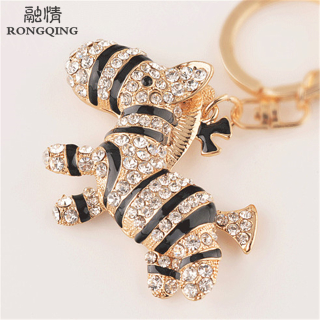 Fashion Cute Crystal Alloy South Africa Zebra Keychains Cartoon Keyrings  for Women Bag Pendant Gifts   beca6c4d84