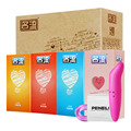 Mingliu 48pcs Condoms Kit Ultra Thin Lubricating Condones with gift(vibrator+2pcs delayed wipes+penis ring) Adult Sex Products
